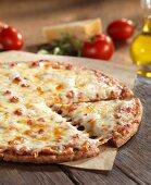 Gluten-free, three cheese pizza