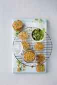 Cheese thins with almonds and kale