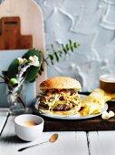 Brisket burger with cheddar slaw and comeback sauce