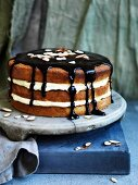 Orange custard creamy layer cake