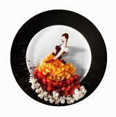 Fashion food: fruit salad as an evening dress with a corset