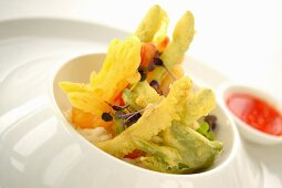 Vegetable tempura with a chilli dip