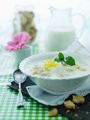 Classic Danish buttermilk dessert with lemon, Melba toast and mint