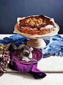 Date, walnut and chocolate torte