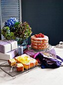 Gluten-free strawberries and cream layer cake, Lemon drizzle cake