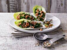 Herb shrimps served in lettuce leaves