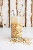 Softened oats in a glass carafe