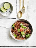 Braised beef short ribs with red rice and mushrooms