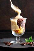 Chocolate ice cream with mint coffee sabayon and sponge fingers