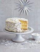 Coconut and mango cake with meringue