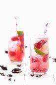 Homemade hibiscus lemonade with limes and raspberries