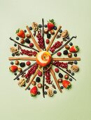 Dessert ingredients arranged in a decorative circle