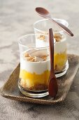 Exotic layered desserts with coconut