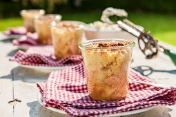 Apple crumble served in glasses