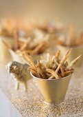 Chips with porcini mushroom salt and truffle mayonnaise