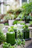 A herb smoothie on a garden table