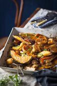 Fried winter vegetables with vanilla and orange