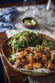 Caramelised pork belly with salad