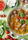 Pasta sauce with vegetables and meat balls
