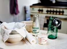 Ingredients for homemade butter on a kitchen table