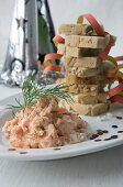 Salmon cream with a stack of bread