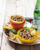 Chickpea salad with smoked mackerel