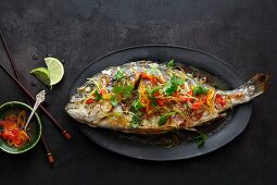 Grilled Chinese style seabream with coriander and chilli (Asia)