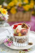 Yoghurt with cereals and fruit for a spring brunch