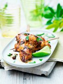 Chicken tikka skewers with lime