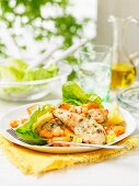 Chicken salad with pumpkin, chickpeas and lettuce