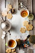 Flower-shaped biscuits served with tea
