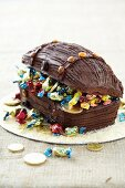 Chocolate cake shaped like a treasure chest for a pirate party