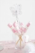 Pink and white marshmallow skewers for a fairy party