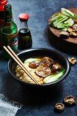 Chinese noodles vegetable shiitake mushrooms