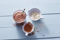 A coconut and banana smoothie with oats
