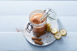 A sweet potato smoothies with cinnamon and banana