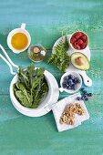Fruit, vegetables, oil and seeds (super foods)