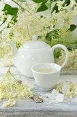 Hot elderflower tea