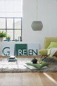 DIY-Dreiteiler mit Schrift 'Green' als Wanddeko