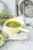 Spring pesto made from radish leaves, rocket and basil with Parmesan cheese