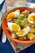 Potato salad with hard-boiled eggs