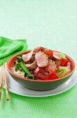 Korean barbecue pork fillet with greens