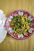 Correggioli con broccoletti e salsiccia (pasta with broccoli and sausage, Italy)