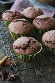 Chocolate muffins with cinnamon and star anise