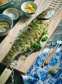 Grilled coriander sea bass with walnut sauce