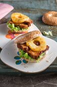 Pineapple burgers with meatloaf-style tofu and soya