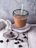 An apple and cherry smoothie with chia seeds and lucuma powder