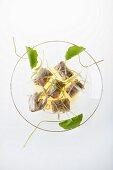 Steamed duck glass dumplings with soya dip