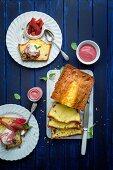 Rhubarb and sour-cream cake with vanilla ice cream