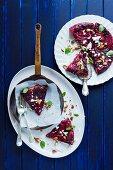 Rhubarb tarte tatin with berries, almonds and ricotta